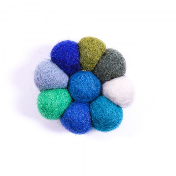 "Haarband ""Blumenball"", handgefilzt, blau/grün"