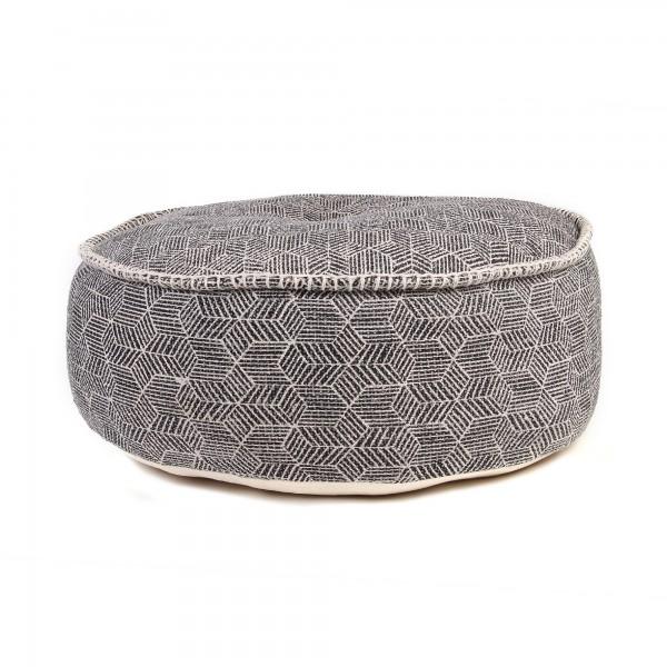 Pouf, grau/weiß Raster, Ø 60 cm, H 20 cm