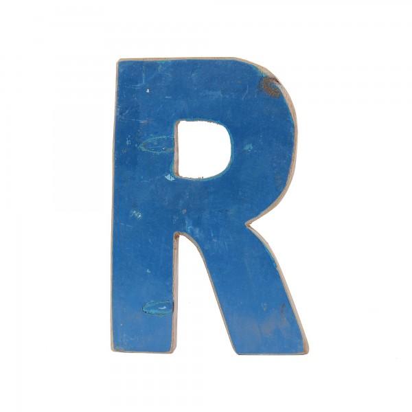 Holzbuchstabe 'R', mehrfarbig, T 2,5 cm, B 13 cm, H 19 cm