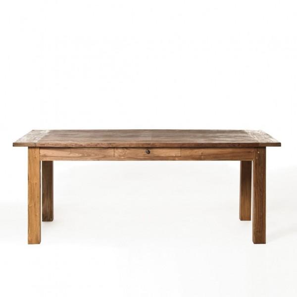 Holztisch aus recyceltem Teak mit durchgehender Schublade, natur, H 76 cm, B 250 cm, T 100 cm