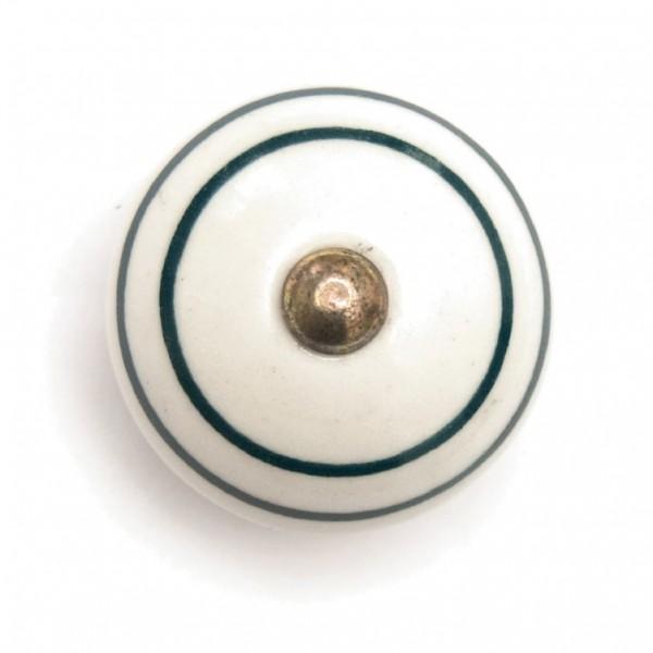Türknauf rund, weiß/grün, Ø 3,5 cm
