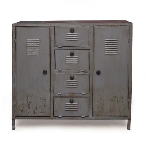 Metallschrank 'Bedford' mit 2 Türen und 4 Schubladen, T 39 cm, B 96 cm, H 91 cm