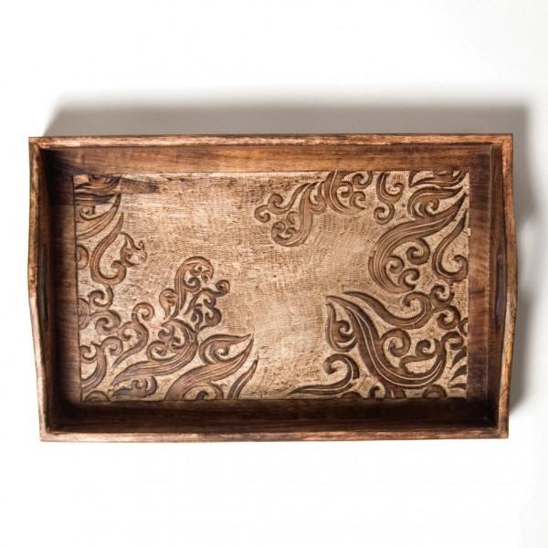 "Tablett ""Utpala"", dunkelbraun, L 27,5 cm, B 42 cm, H 6 cm"