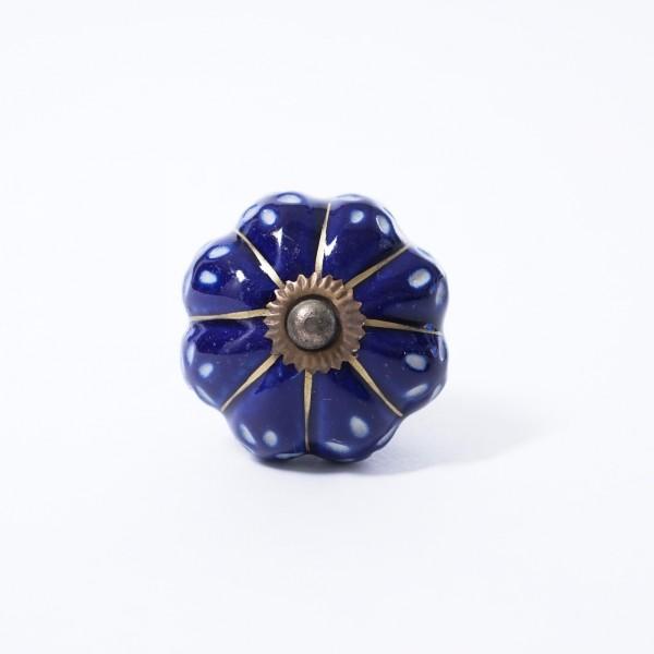 "Keramik Möbelknopf ""Blume"", handglasiert, dunkelblau, Ø 4 cm"