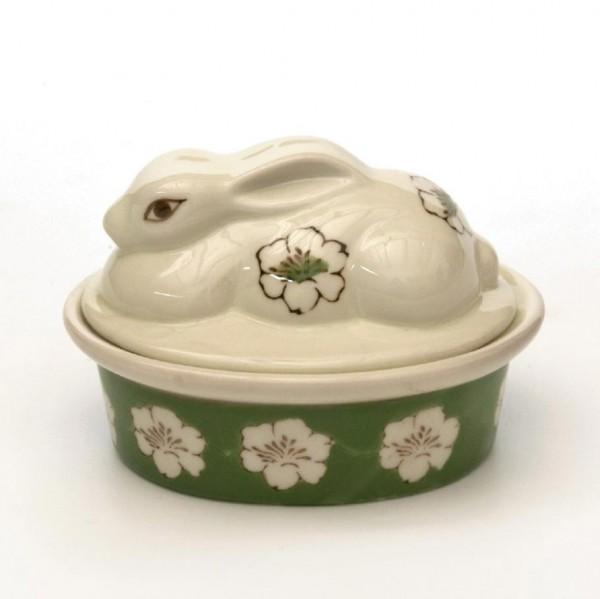 Hasenbehälter, grün/beige, L 9 cm, B 13 cm, H 9 cm