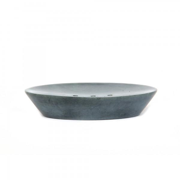 Seifenablage grauer Speckstein 3 Löcher, grau, T 13 cm, B 10 cm, H 3 cm