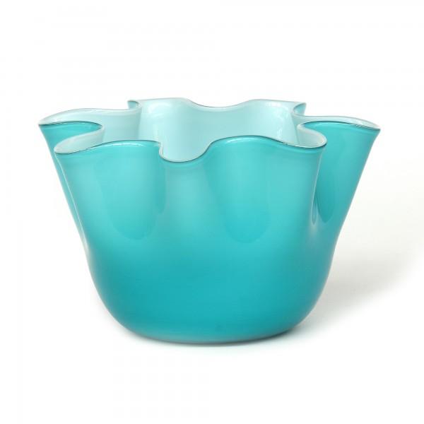 Glasvase, blau, Ø 23 cm, H 14 cm