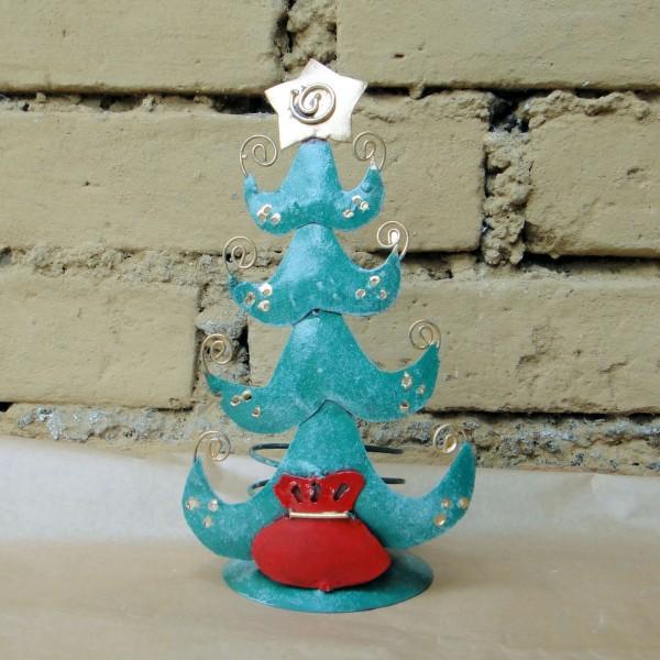 """Teelichthalter """"Weihnachtsbaum"""", petrol, H 10 cm, Ø 19 cm"""