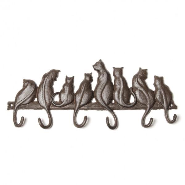 """6er Hakenleiste """"Katzen"""", antik-schwarz, B 34 cm, H 14 cm"""