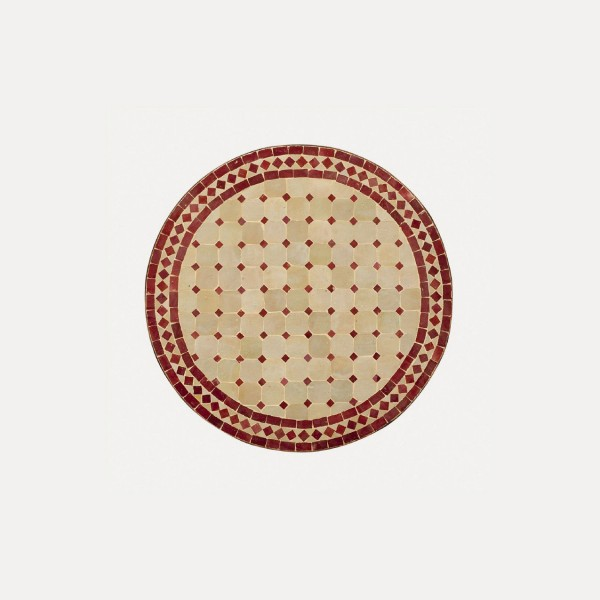 runder Tische, beige/rot, H 75 cm, Ø 80 cm