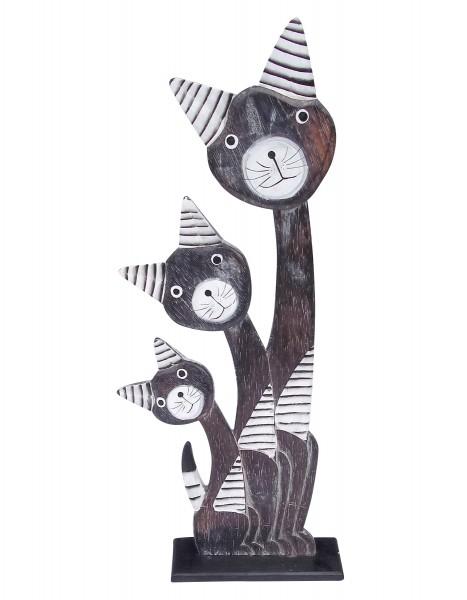 3er Holzkatze, dunkelbraun, H 55 cm