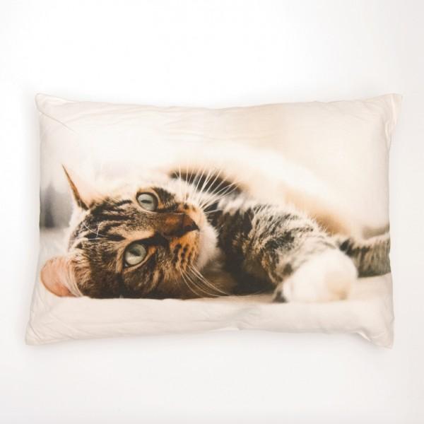 """Fotodruck-Kissen """"Katze liegend"""", inklusive Füllung, L 40 cm, B 60 cm"""