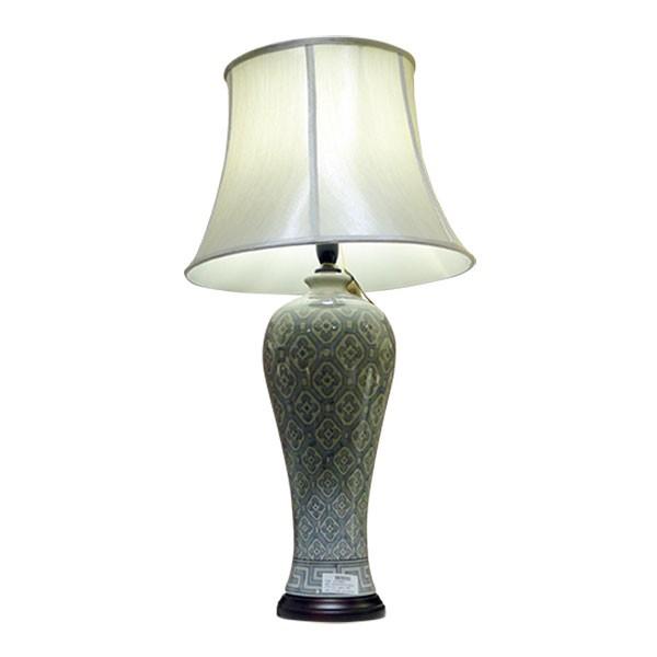 """Keramikleuchte """"Duyun"""", grau/beige, Schirm weiß, H 57 cm"""