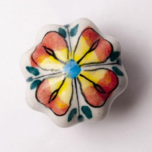 "Türknauf ""Blume"", rot/gelb, Ø 4,5 cm"