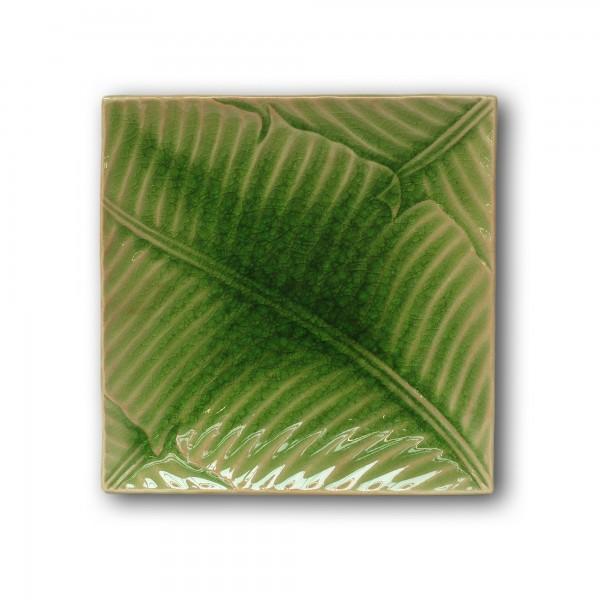 Platte 'Banana-Leaf', blau, T 18 cm, B 18 cm, H 2 cm