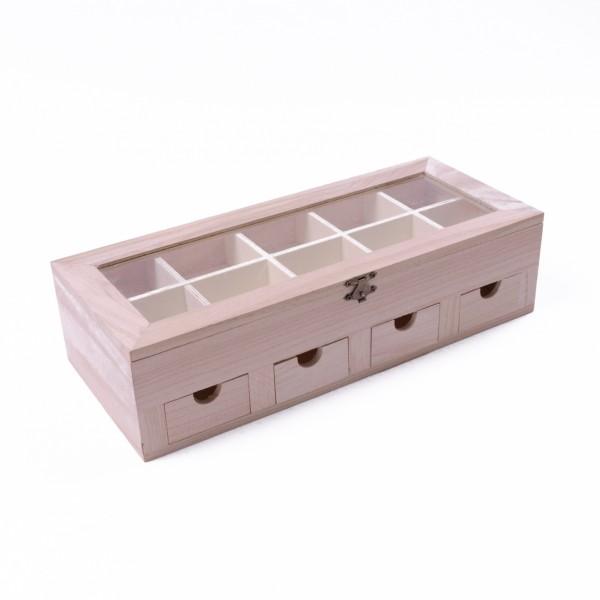 """Schmuckkasten """"Su"""" mit 4 Schubladen und 10 Sortierboxen, natur, L 15 cm, B 35 cm, H 9 cm"""