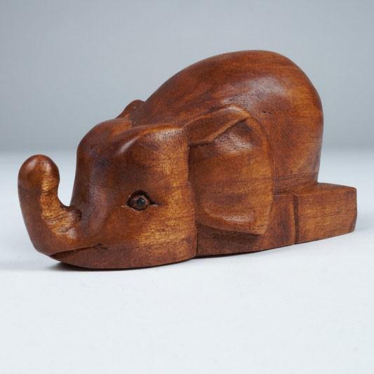Handgeschnitzter Holzelefant, L 15 cm, H 9 cm