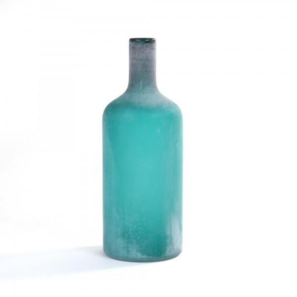 Glasflasche 'Tusk', petrol, gefrostet, Ø 15 cm, H 40 cm
