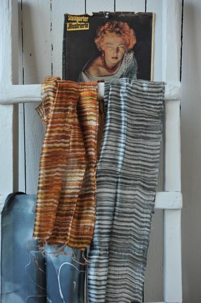 Seidenschal gestreift, braun, L 175 cm, B 35 cm