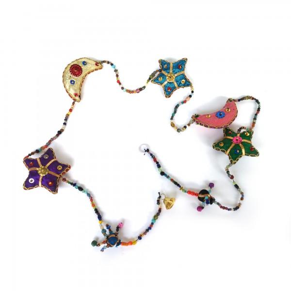 5er Girlande 'Mond und Sterne' hängend, multicolor, T 120 cm, B 7 cm