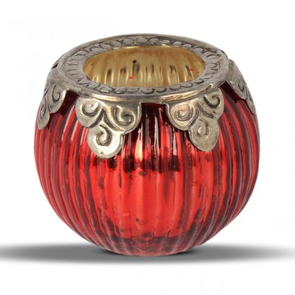Windlicht, rot/silber, H 7 cm, Ø 8 cm