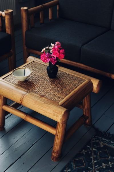 Bambustisch 'Asmo', natur, T 50 cm, B 60 cm, H 40 cm