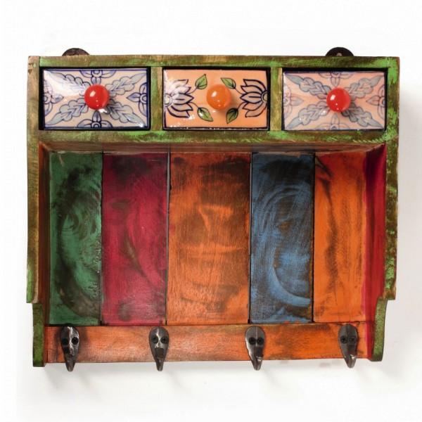 Kleine Hängekommode mit Haken, multicolor, L 12 cm, B 37 cm, H 30 cm