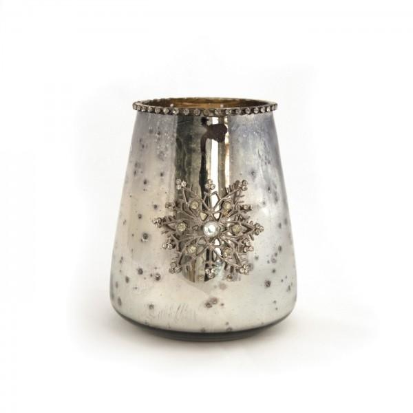 """Teelichtglas """"Schneeflocke"""", silber, Ø12 cm, H 15 cm"""