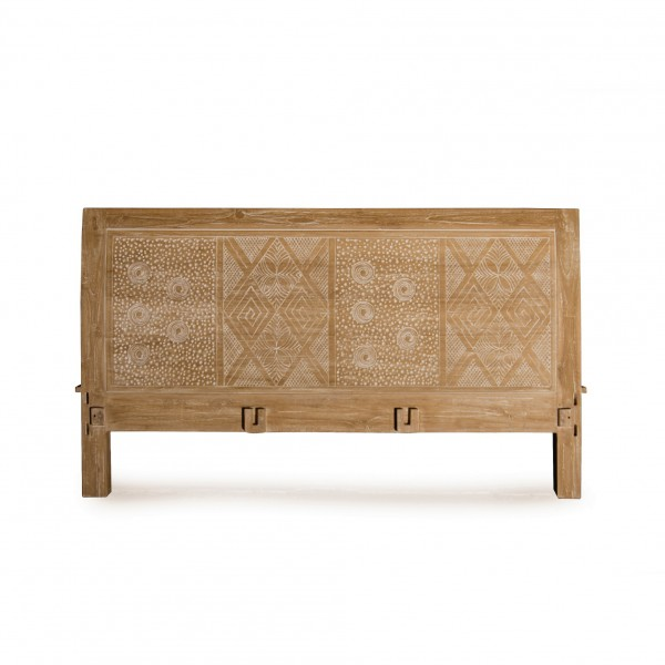 Bettrahmen 'Rool Kawung' aus Teakholz, braun/gekälkt, B 200 cm, L 200 cm, H 110 cm