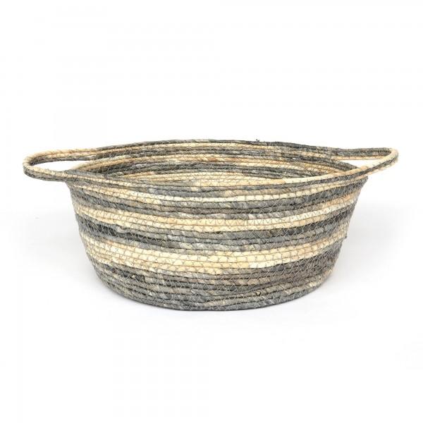 Korb 'Gradara' L, grau, beige, Ø 29 cm, H 15 cm