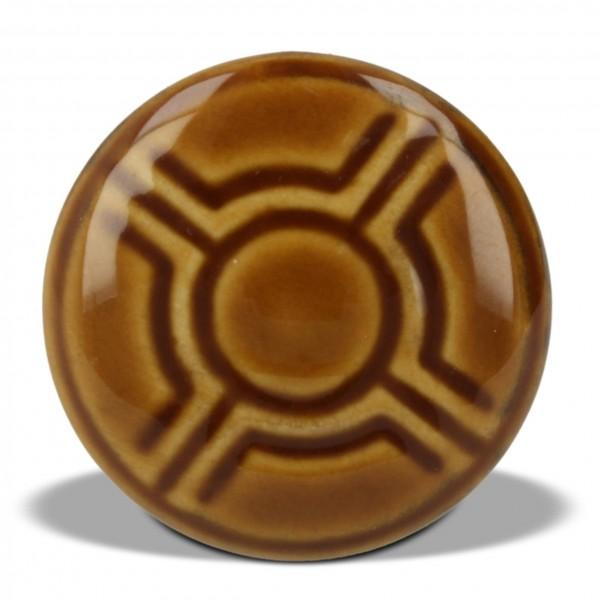 Knopf Ornament rund, braun, Ø 4 cm
