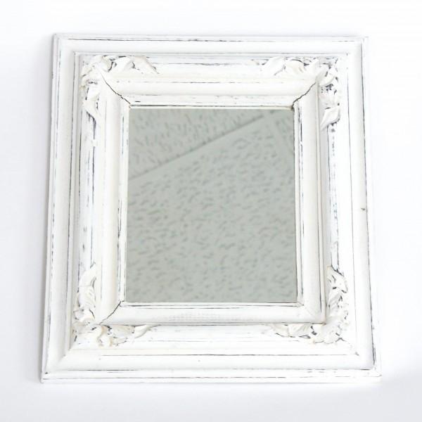 Spiegel mit Schnitzerei, antik-weiß, L 3,5 cm, B 36 cm, H 42 cm