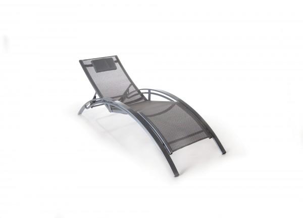 Pool-Lounger aus Aluminium, grau, L 190, B 67 cm, H 98 cm