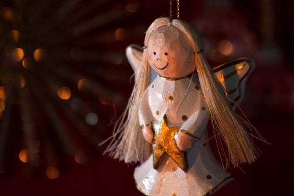 Engel 'Goldstern', braun, weiß, T 2 cm, B 5 cm, H 8 cm