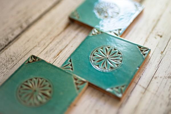 Kachel 'Soleil vert', grün, T 10cm, B 10 cm