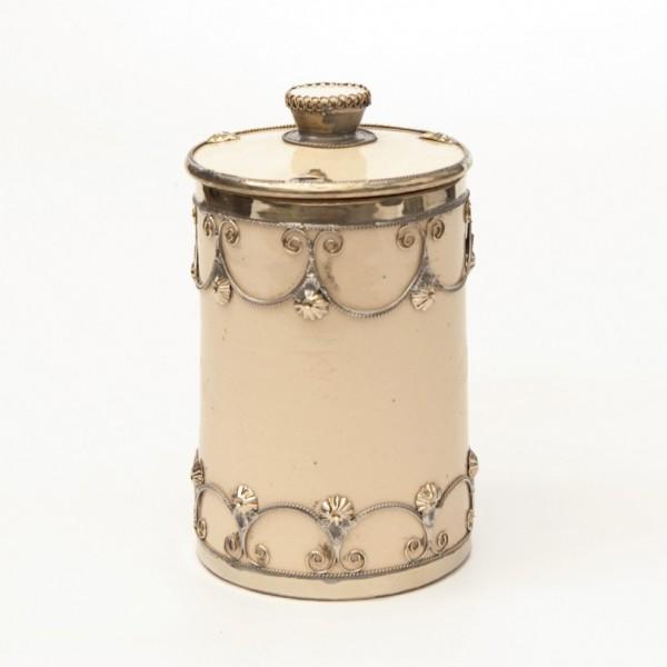 Gebäckdose mit Metallverzierung, beige, H 18 cm, Ø 10 cm