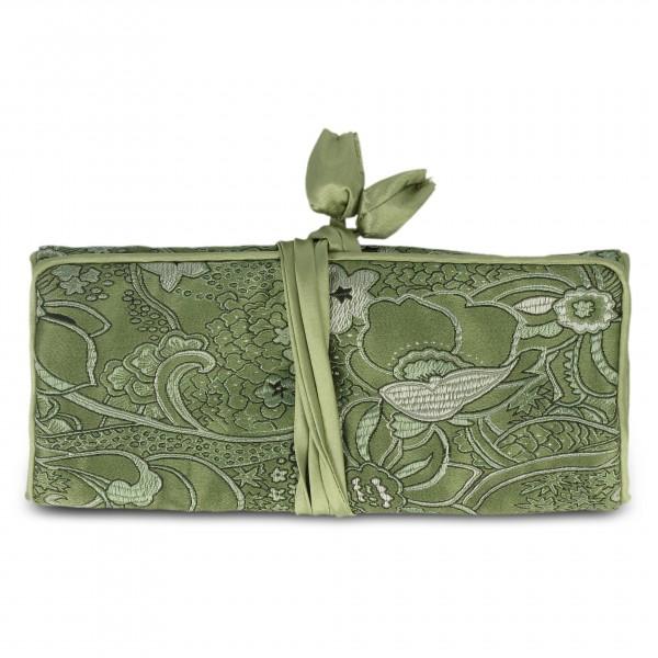 Schmucktäschchen faltbar, grün, B 19 cm, H 9 cm