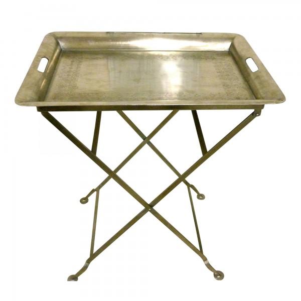 Metalltablett auf Ständer, silber, L 45 cm, B 65 cm, H 74 cm