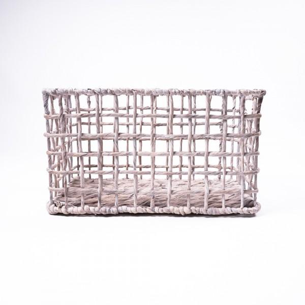 Korb aus Wasserhyazinthe, weiß, Größe S, L 26 cm, B 43 cm, H 24 cm