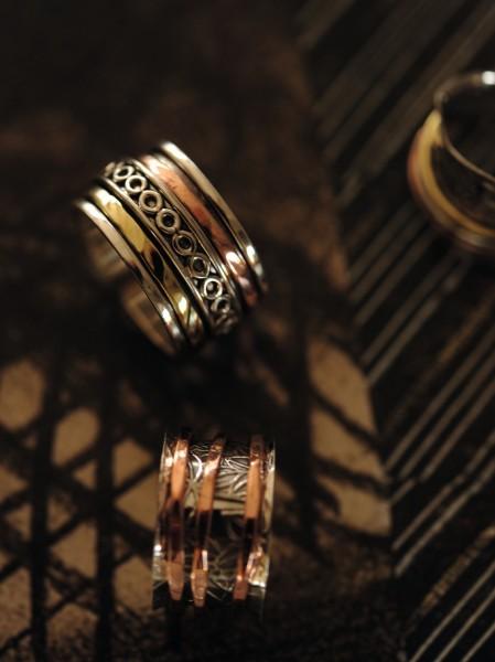 Ring 925 Silber mit Kupfer- und Messingband, Silber, Kupfer & Messing