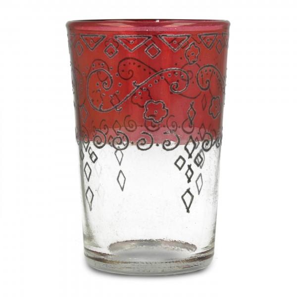 Kerzenglas, rot/transparent, H 9,5 cm, Ø 6 cm