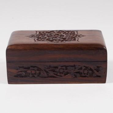 Holztruhe mit Schnitzerei S, braun, L 10 cm, B 16 cm, H 7 cm