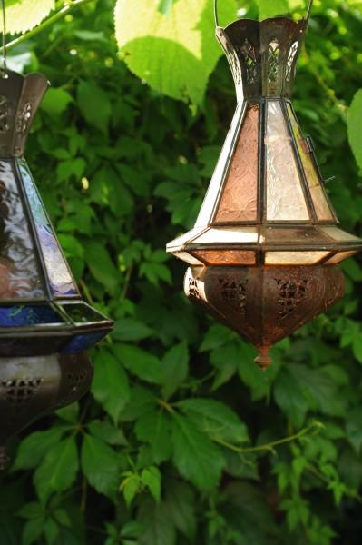 "Laterne ""Mini Tria Khalid"" inkl. Glas (gelb), antik-braun, H 30 cm, Ø 15 cm"