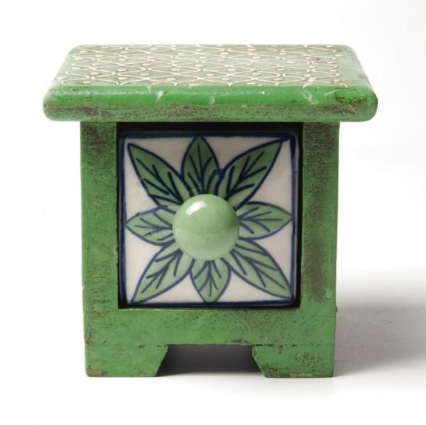 Schmucktruhe mit Schublade, grün/weiß, L 10 cm, B 10 cm, H 9 cm