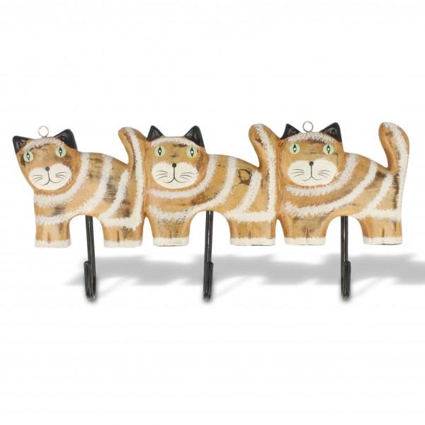 """Wandhänger """"3 Katzen"""", braun/weiß, B 30 cm, H 13 cm"""