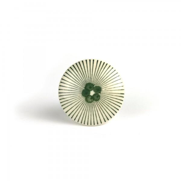 Keramik-Knauf 'Punkte mit Strahlen', weiß, grün, Ø 4 cm, H 2,5 cm
