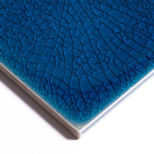 Fliese 'Craquele', ozeanblau, L 10 cm, B 10 cm