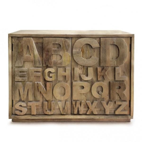 """Kommode """"A bis Z glatt"""" aus Mangoholz, L 40 cm, B 120 cm, H 85 cm"""