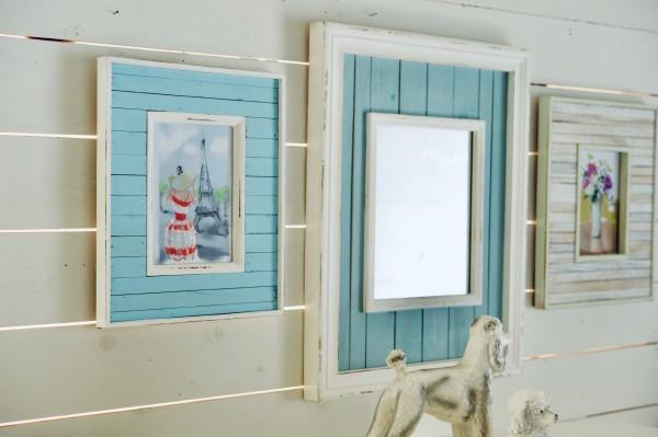 Spiegel im Rahmen 'Butjadingen', blau, weiß, T 2,9 cm, B 39,2 cm, H 49 cm