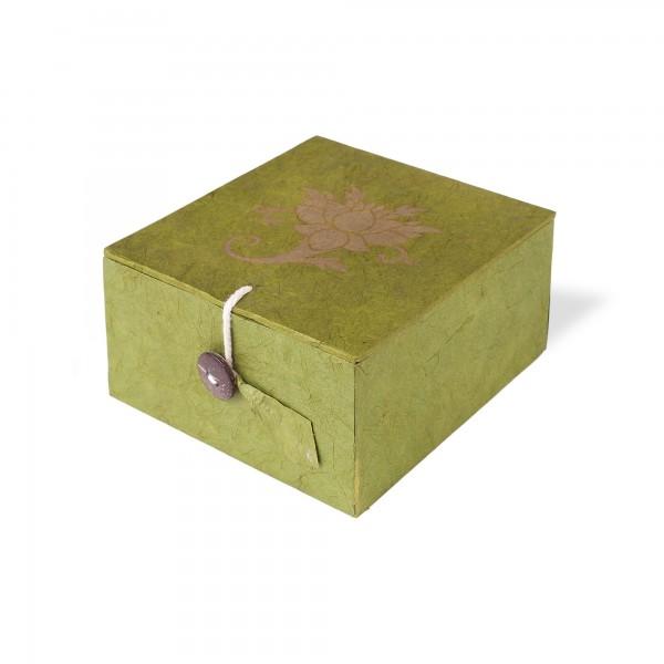 Lokta Box Lotus, oliv, T 11 cm, B 11 cm, H 5,5 cm